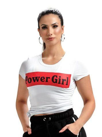 OXYFIT T-shirt Baby Look Power Girl – 46481 – White