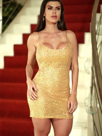 DYNAMITE BRAZIL Simkhe Gold Sequin Dress