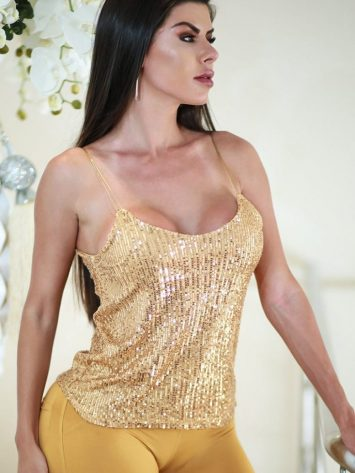 DYNAMITE BRAZIL Blouse – Festo Gold Sequined