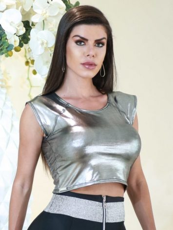DYNAMITE BRAZIL Top Cropped – Metallic – BL222