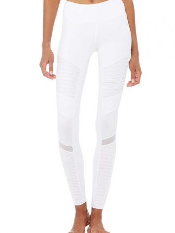 ALO Yoga Moto Leggings High Waist Glossy-White