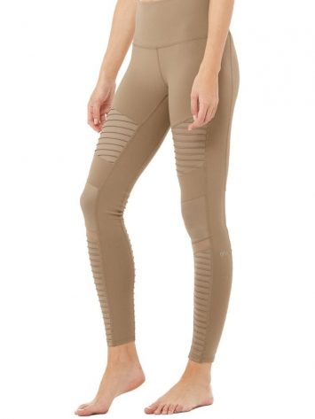 ALO Yoga Moto Leggings High Waist Glossy-Gravel