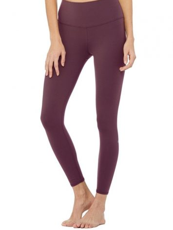 ALO Yoga High Waist Airbrush Legging – Black Plum