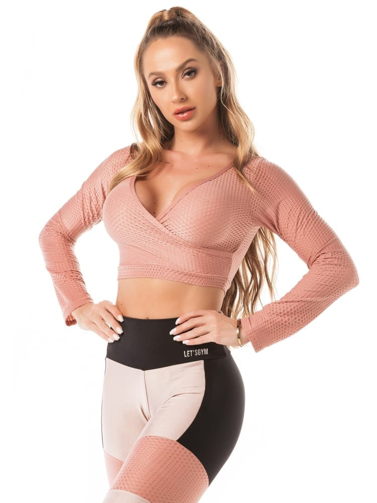 Lets Gym Cropped M/L Airy Shine Top – Rose | Best Fit by Brazil