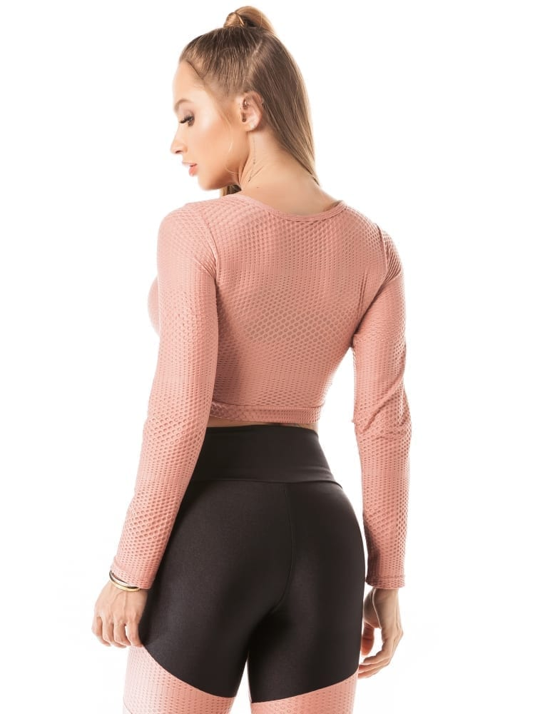 Lets Gym Cropped M/L Airy Shine Top - Rose | Best Fit by Brazil