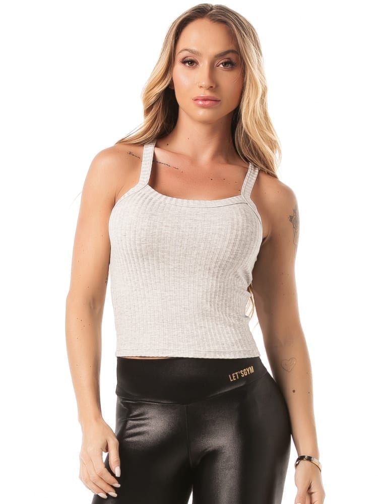 Let's Gym Cropped Ribbed Fit Tank Top – light gray