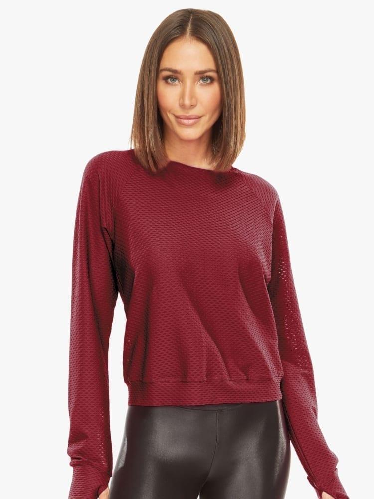 Koral Sofia Shiny Netz Pullover Sweater – Ruby
