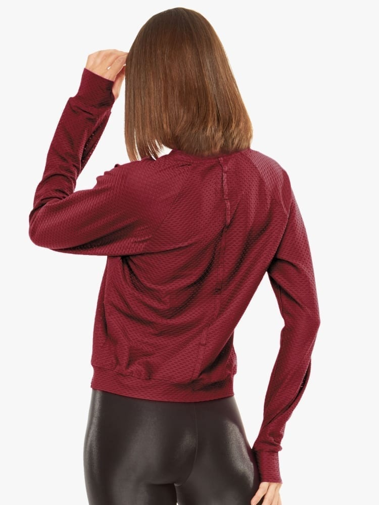 Koral Sofia Shiny Netz Pullover Sweater - Ruby