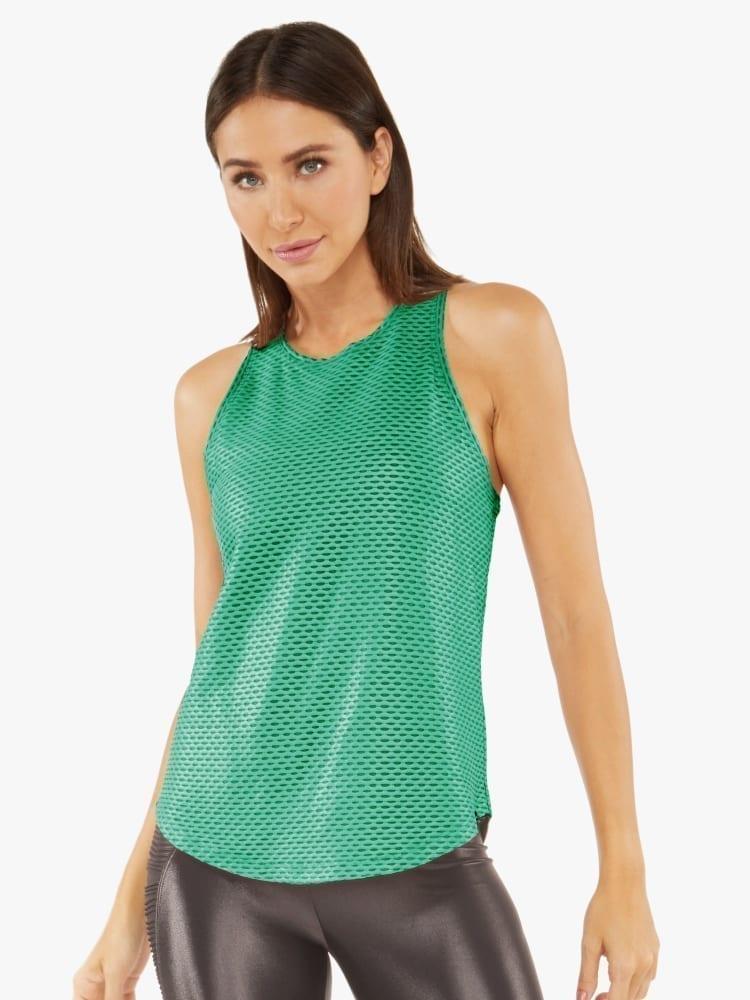 Koral Aerate Shiny Netz Tank Top – Emerald