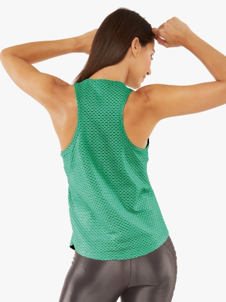 Koral Aerate Shiny Netz Tank Top - Emerald