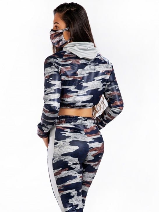Let's Gym Cropped Camo Top - Blue