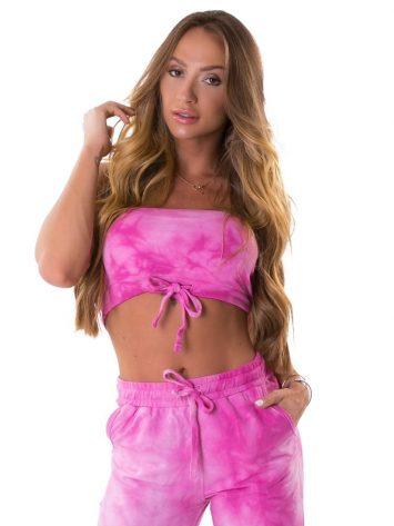 Lets Gym Fitness Bandeau Tie Dye Fresh Top – Rosa