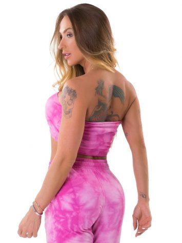 Lets Gym Fitness Bandeau Tie Dye Fresh Top - Rosa