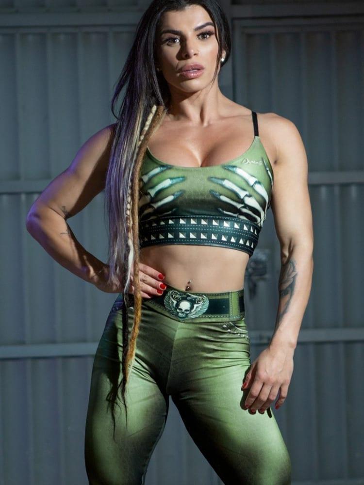 Dynamite Brazil Sports Bra Top Naughty Skeleton – Olive
