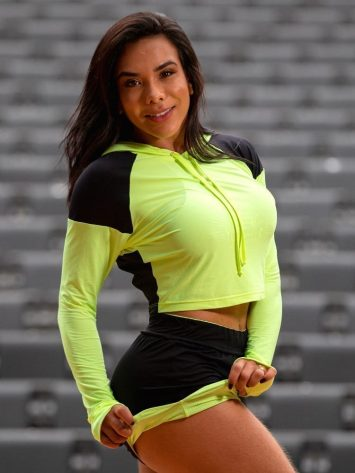 OXYFIT Activewear Cropped Reverse Long Sleeve Hoody – Lime