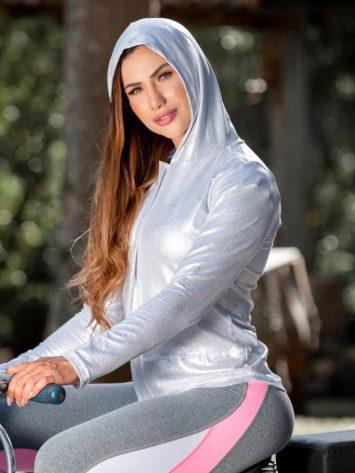 OXYFIT Activewear Jaqueta Brisk Jacket – Long Sleeve Hoody – Silver