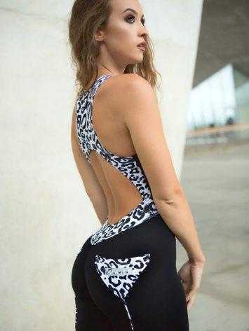 DYNAMITE Jumpsuit One-Piece Scratches – Black Leopard