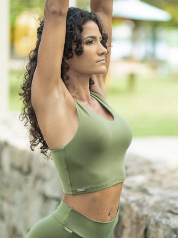 Dynamite Brazil Liberty Sports Bra Crop Top – Green Moss