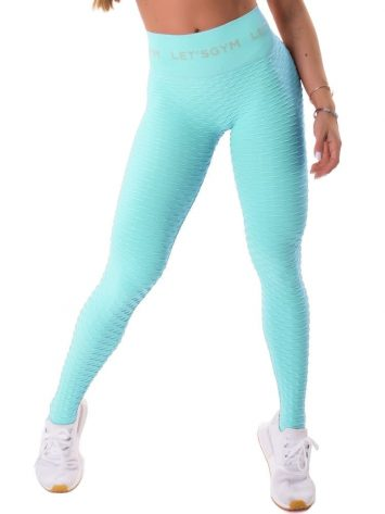 Let's Gym Seamless Brocada Leggings – Turquoise