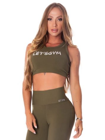 Lets Gym Fitness Cropped Energetic Sports Bra – Military Green