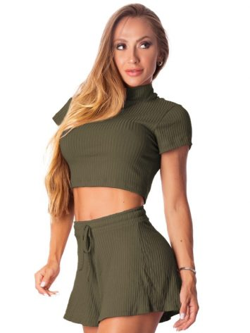 Let's Gym Fitness Cropped Canelado Fluid – Military Green