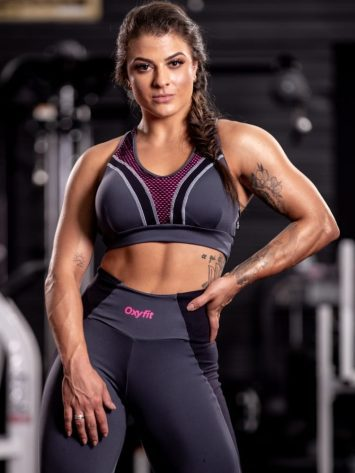 Oxyfit Sports Bra Top Version- grey/black/pink