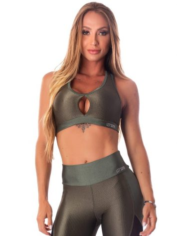 Lets Gym Fitness Enigmatic Sports Bra – Military Green