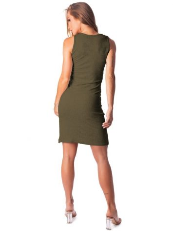 Let's Gym Fitness Vestido Canelado Lux and Power - Military Green