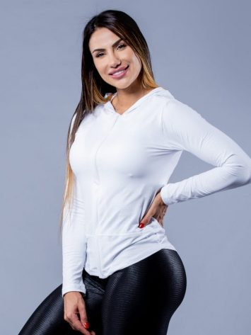 OXYFIT Activewear Jaqueta Brisk- Long Sleeve Hoody – White