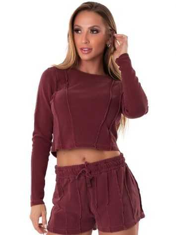 Let's Gym Fitness Cropped M/L Lines – Wine