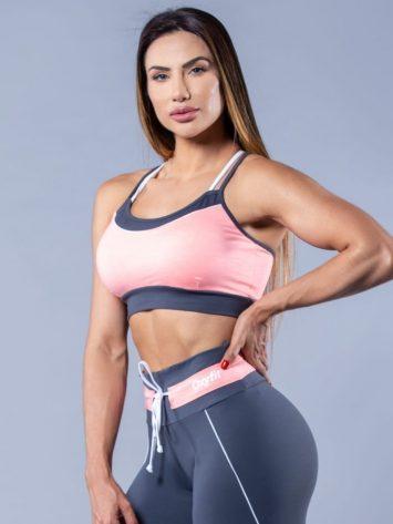 Oxyfit Activewear Sports Bra Top Gracious – Grey/Coral/White