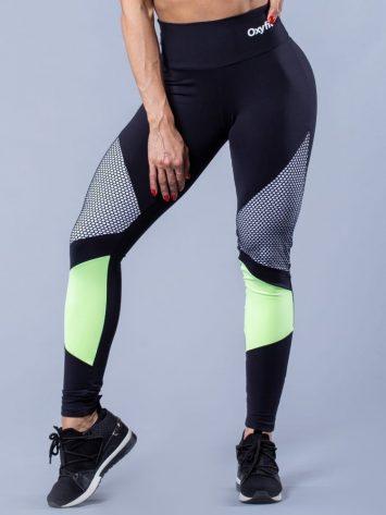 Oxyfit Activewear Leggings Flat – Black/White/Lime