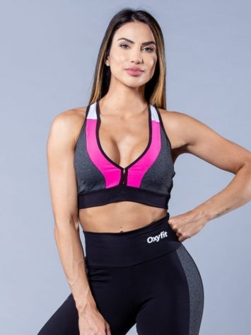 Oxyfit Activewear Sports Bra Top Zippy- Black/Grey/White/Pink