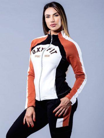 OXYFIT Activewear Long Sleeve Hoody Hardy Sweat Jacket – Black/Rust/White