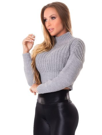 Let's Gym Fitness Cropped Trico – Gray