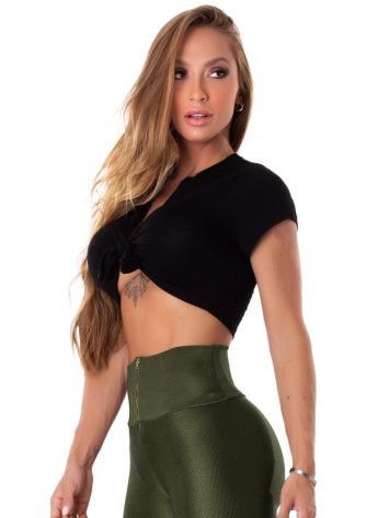 Let's Gym Fitness Cropped Tie and Go – Black