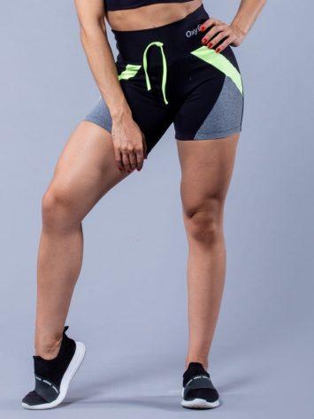 Oxyfit Activewear Energy Shorts – black/grey/neon lime
