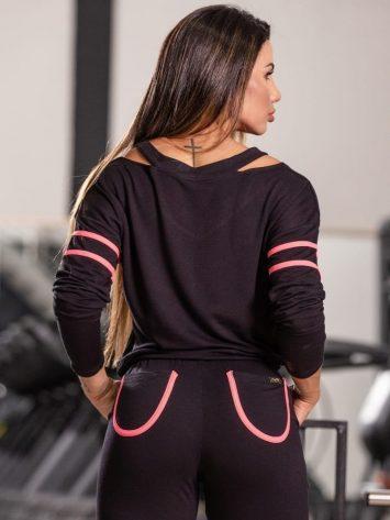OXYFIT Activewear Blouse Smooth Long Sleeve – Black/Pink