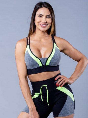 Oxyfit Activewear Sports Bra Top Energy – Black/Grey/Neon Lime