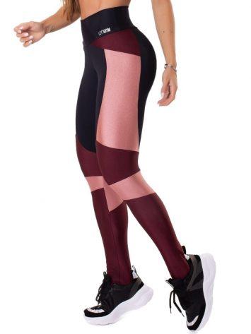 Let's Gym Fitness Magical Leggings – Black/Burgandy
