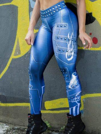 DYNAMITE BRAZIL Leggings Paint-it-black – Velvet Blue