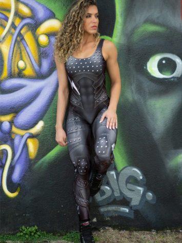 Dynamite Brazil Jumpsuit Macacao Paint-it-black – Black Lightning Bolt