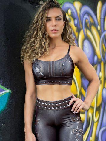 Dynamite Brazil Paint-it-black Sports Bra Top – Black Lightning Bolt