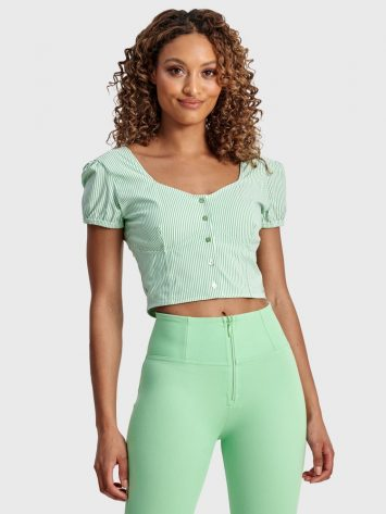 FREDDY WRUP Pinstripe Cropped – Green