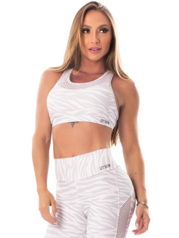 Lets Gym Fitness Jungle Sports Bra Top – White