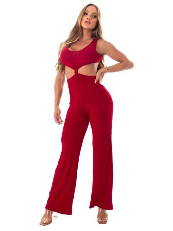 Let's Gym Fitness Knot Ribbed Jumpsuit – Red