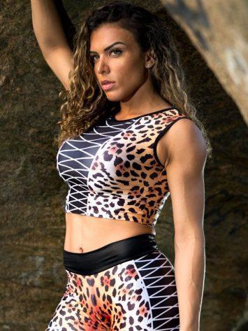 DYNAMITE Brazil Cropped Blouse Jaguar – Animal Print