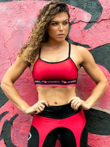 DYNAMITE Sports Bra Top – Black Red